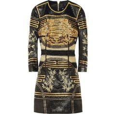 Balmain Embellished metallic jacquard mini dress (£2,905) ❤ liked on Polyvore featuring dresses, balmain, short dresses, vestidos, black, mini, balmain dress, mini dress, embroidered dress and black mini dress