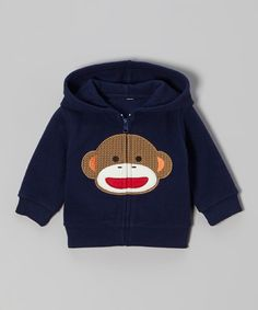 Take a look at this Blue Monkey Zip-Up Hoodie - Infant by Sock Monkey on #zulily today!