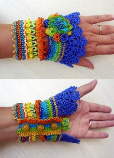 Only till 30.04. promotional bonus crochet Kokeshi doll trending at 20$! A unique handmade cuff, crochet from a HQ 100% cotton thread , made with resisting and long-lasting glass beads. Main colors are yellow, orange, light green and blue. This bracelet is decorated with glass beads, czech beads and beaded flower. I made this cuff by using a Free Form Crochet Technique and a lot of imagination, so it is completely unique and can not be reproduced a second time. The bracelet can be washe...