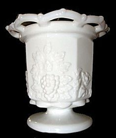 Paneled Grape Jardiniere, Lace Edge, Westmoreland Milk Glass