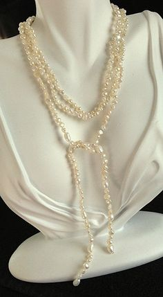 Long Freshwater Pearl Lariats 46 inches by MAGICALUNIVERSE on Etsy