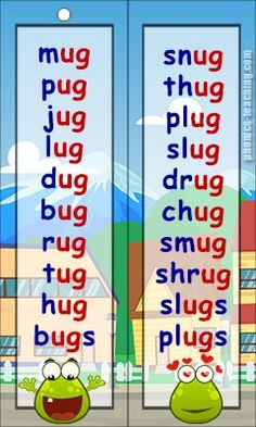 ug words - FREE Printable wordlists - Ideal for phonics lessons and phonics revision.