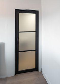 steel look glass door with frosted glass - steel look glass door with frosted glass - Black Trim Interior, Aluminium Glass Door, Door Design, House Design, Dark Doors, Inside Doors, Modern Farmhouse Interiors, House Doors, Bathroom Doors