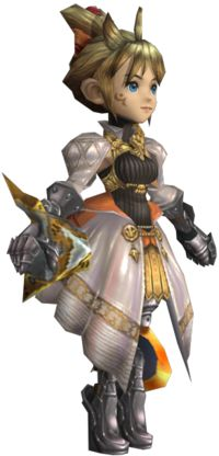 Fiona (フィオナ, Fiona?) is a half Lilty, half Clavat ruler of Alfitaria from the Final Fantasy Crystal Chronicles series. In the original Crystal Chronicles, she is a Princess who has run away from her duties. Her father was a Lilty while her mother, who had passed away, was a Clavat. Fiona has blond hair tied in a high bun, hiding her Lility sprouts and light blue eyes. She wears a tight black turtle-neck halter top and white skirt with orange lining, gold circle designs and gold front. She...
