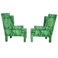 Faux-Malachite Wingback Lounge Chairs