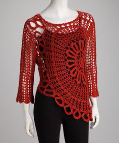 Crochet is used for a chic effect on this lacy red top with a sunburst pattern and loop-lined hem. A see-through look makes this piece just the thing to layer over another color for a peekaboo effect.