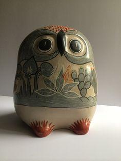 HUGE Tonala Mexican Folk Art Owl Signed Navarro by AtomicHawks on Etsy