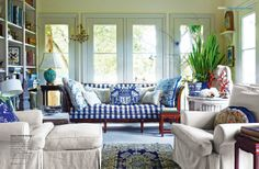Fab traditional living room in Indigo Blue and white.
