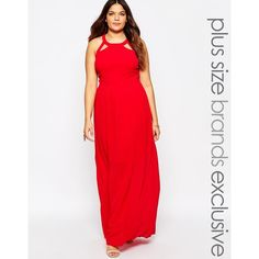 Truly You Maxi Dress With Lace Up Halter Detail ($36) ❤ liked on Polyvore featuring dresses, plus size, red, halter dress, halter top, halter neck maxi dress, plus size halter dress and red maxi dress
