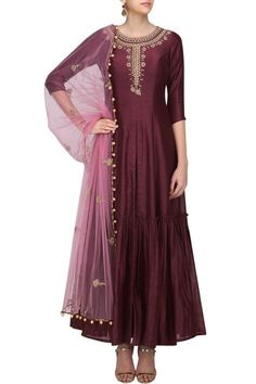Wine floral embroidered anarkali kurta and pants set available only at Pernia's Pop Up Shop.