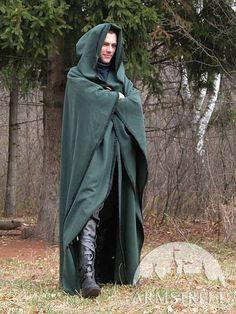 natural green wool cloak