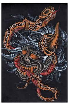 Scorned by Clark North Tattoo Art Print Japanese Asian Snake Devil Monster #BlackMarketArtCompany #TraditionalStyle