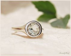 green amethyst ring  solitaire ring  silver ring  by JewellRay