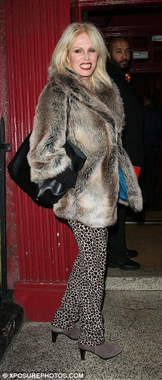Work it sweetie!Joanna, who is reprising her role as Patsy Stone in the film, led the glam arrivals with the 69-year-old looking suitably fabulous in a faux fur coat teamed with leopard print trousers
