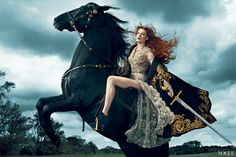 Florence Welch of Florence + The Machine in a Chanel dress, Dolce & Gabbana cape and boots, Gypsy necklace for Vogue US September 2012 by Norman Jean Roy Florence Welch, Gucci Florence, Norman Jean Roy, Annie Leibovitz Photography, Florence The Machines, Vogue Us, Vogue Photo, Foto Art, Actor Model