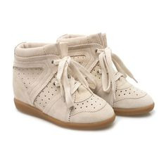Isabel Marant Bobby ruskinds sneakers ($480) ❤ liked on Polyvore featuring shoes, sneakers, chalk, print sneakers, leather sneakers, round cap, hidden wedge heel sneakers and embellished shoes
