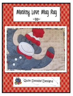 Monkey Love Mug Mat packaged Pattern by quiltdoodledesigns on Etsy, $4.00