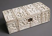 Date: ca. 1320–40 Geography: Made in Paris, France Culture: French Medium: Ivory Dimensions: Overall: 3 1/8 x 8 1/2 x 4 in. (7.9 x 21.6 x 10.1 cm) Top: 8 1/2 x 4 x 1/2 in. (21.6 x 10.2 x 1.3 cm) Classification: Ivories Credit Line: Gift of J. Pierpont Morgan, 1917 Accession Number: 17.190.177a, b