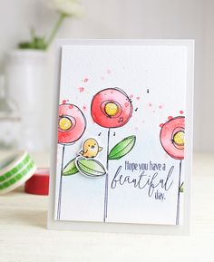 Beautiful Day card by Dawn Woleslagle for Wplus9 featuring the Doodle Buds stamps and dies.