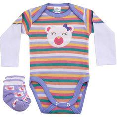 Body Recém Nascido e Bebê Menina Ursinha com Meia Lilás - Best Club :: 764 Kids | Roupa bebê e infantil