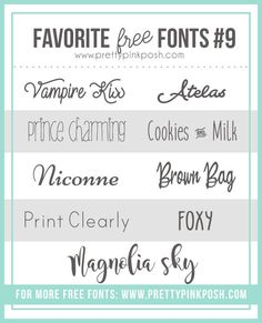 Today I have another edition of the Favorite Free Fonts to share with you. It's always so fun to compile these lists for you and since I'm always on the lookout for fonts, it's on… Cute Fonts, Fancy Fonts, Typography Invitation, Computer Font, Silhouette Fonts, Alphabet Templates, Pretty Pink Posh, Card Sayings, Card Sentiments