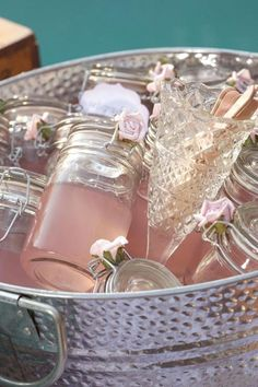 Mason jar party drinks party drinks pink decor flowers party ideas favors