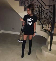 WEBSTA @ charlottegshore - Tonight attire Tshirt dress - @inthestyleuk (My collection)Boots - @inthestyleukBag - @burberry