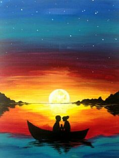 Sunset on the lake romantic boat ride beginner painting idea.