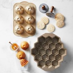 Shop bee themed baking ware from Williams Sonoma. Our expertly crafted collections offer a wide of range of cooking tools and kitchen appliances, including a variety of bee themed baking ware. Williams Sonoma, Bee Cookies, Honey Cookies, Honeycomb Cake, Bee Party, Honey Cake, Nordic Ware, Bee Theme, Bees Knees
