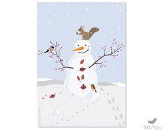 Grußkarte ❘ Schneemann ❘ marga.marina von marga.marina auf DaWanda.com Illustration, Christmas Cards, Poster, Snoopy, Etsy, Fictional Characters, Snowman, Postcards, Christmas