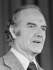 George McGovern, first person I voted for.  I was the Virginia student and youth campaign coordinator for this remarkable, peace loving man.