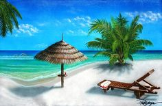"""Reservation for One  By Darren Robinson  This tranquil beach scene is the perfect place to """"get awaay from it all"""" after a long hard day at the office. The turquoise water is so relaxing it melts your troubles away. Relax, have a tropical drink, and listen to the ocean."""