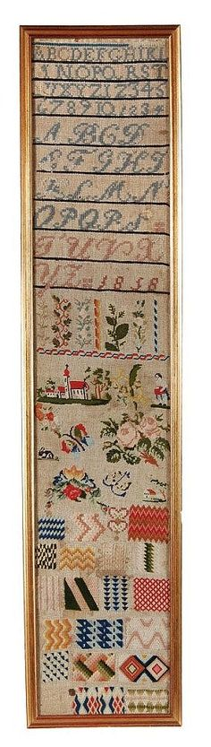 A 19th Century German WoolWork Sampler Dated 1858