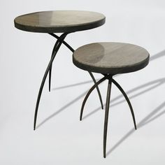 Tripod Table with Gray Marble Top is available in two fucntional size. Hand forged iron base offers an industrial touch.