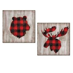 Beautiful Red and Black Flannel Pattern Bear and Elk Silhouettes on Faux Wood Background; Two Paper Prints (Printed on Paper, Not Wood) Black Bedroom Decor, Black Decor, Buffalo Print, Buffalo Check, Elk Silhouette, Red And Black Flannel, Lodge Look, Woodland Decor, Lodge Decor