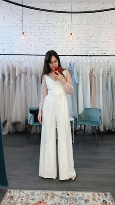 Wedding Pantsuit, Wedding Attire, Wedding Suits For Bride, Wedding Dress Suit, Bride Suit, Civil Wedding Dresses, Casual Wedding, Gown Wedding, Wedding Bridesmaids