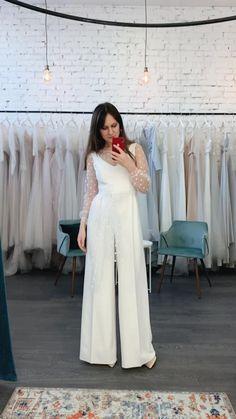 Wedding Pantsuit, Wedding Attire, Wedding Suits For Bride, Best Wedding Suits, Wedding Dress Suit, Civil Wedding Dresses, Casual Wedding, Gown Wedding, Wedding Bridesmaids