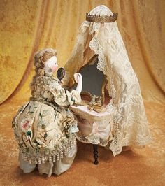"The Empress and the Child - Antique Dolls:  Musical Automaton ""Lady at the Toilette Table"" by Vichy,Original Costume"