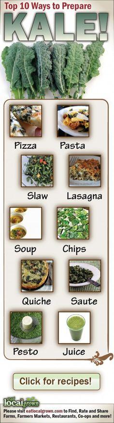 Top 10 Ways to Prepare Kale...My Favorite is Juicing it!!