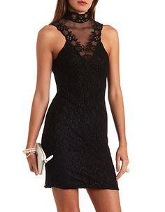 Mock Neck Mesh & Lace Bodycon Dress: Charlotte Russe