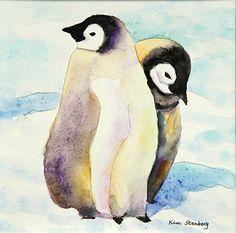 "Baby Emperor Penguins by Kim Stenberg Watercolor ~ 6"" x 6"""
