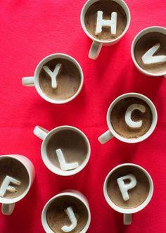 CUTEST. monogram marshmallows for hot chocolate! #flatlay #flatlays #flatlayapp www.flat-lay.com