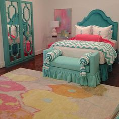 Had such a blast installing this little girls bedroom! Thank you Madison Lily for the beautiful rug- it really made a statement! #tcinteriors #custom #lucite #customjewelrycabinet #customlucite #customtables #furniture #customfurniture #customheadboard #headboard #velvet #abstract #art #rug #customdesign #bedroom #custompillows #interiors #interiordesign #decor #design #decorator #decorating #homedesign #home #girl #colorful #bright #musthave #unique