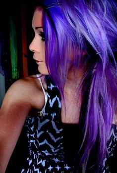 Think I want to do my hair these colors but reversed. Black on top layer, purple underneath