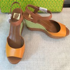 "Dolce Vita BRAND NEW Orange / Green Wedge Sandals Dolce Vita Brand New never worn Sandals!  Fun & Flirty  with Orange and Tan Leather Accented with Green& Tan Wedge Heel!  Rubber Sole with angled back to keep the heel from unraveling! Padded Sole for comfort!  Perfect for your Spring Wardrobe!  Heel measures 4.5"" Dolce Vita Shoes Sandals"