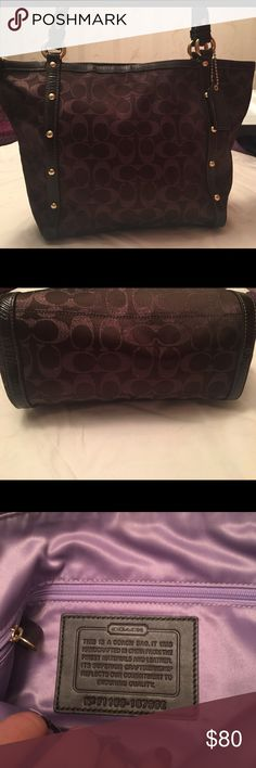 "Coach purse Medium brown coach bag with shimmer classic coach ""c"" logo. 100% authentic, barely used. Lining is lavender with multiple cell pockets. Zipper on top for security. Coach Bags Shoulder Bags"