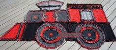 TRAIN RAG QUILT, Keepsake Quilt,Re-cycled Denim Quilt, Childs Quilt, Red,Black and Grey,Wall hanging or Bedspread from TheNeedleNPinsPrject