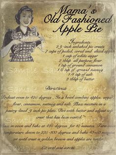 Primitive Apple Pie Recipe Feedsack Logo Pantry Jar Crock Crate Jar Label Jpeg Digital File Etsy :: Your place to buy and sell all things handmade Retro Recipes, Old Recipes, Vintage Recipes, Gourmet Recipes, Dessert Recipes, Cooking Recipes, Cheap Recipes, Candy Recipes, Baking Recipes