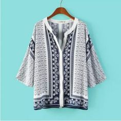 NEW FASHION LADIES' TEMPERAMENT BLUE AND WHITE PORCELAIN PRINTING ARTIFICIAL COTTON SHIRT HALF SLEEVE V NECK LOOSE TOP 118