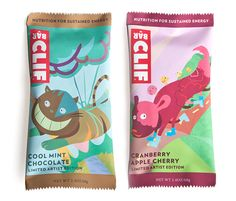 """Artist Edition Clif Bar: The goal was to create a limited artist edition Clif Bars for two of the flavors. As seen by ""Cool Mint Chocolate"" and ""Cranberry Apple Cherry"" flavors, the color palette reflects on the flavors. The concept was to show ordinary animals doing extraordinary things with the help of Clif Bars."""